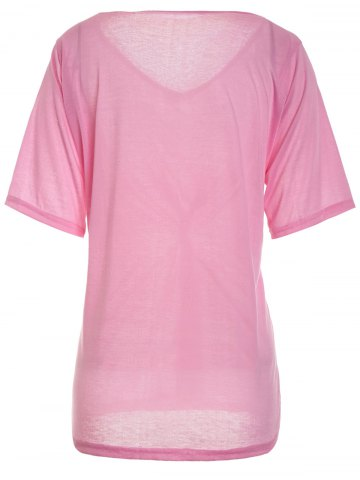 Fashion Casual Scoop Neck Solid Color Half Sleeve T-Shirt For Women - L PINK Mobile