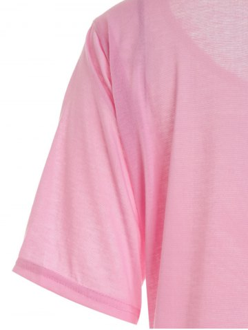 Outfits Casual Scoop Neck Solid Color Half Sleeve T-Shirt For Women - L PINK Mobile