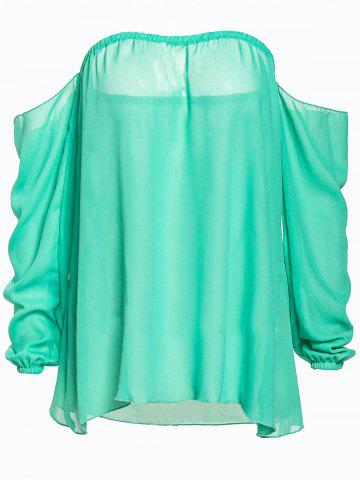 Affordable Stylish Slash Collar Long Sleeve Pure Color Chiffon Women's Blouse GREEN M