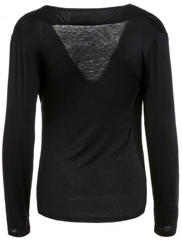 New Sexy Plunging Neck Solid Color Long Sleeve Bodycon T-Shirt For Women - M BLACK Mobile