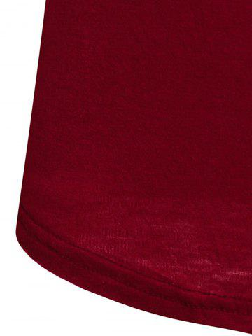 Online Sexy Plunging Neck Solid Color Long Sleeve Bodycon T-Shirt For Women - M WINE RED Mobile