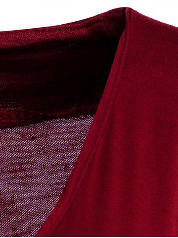 Shop Sexy Plunging Neck Solid Color Long Sleeve Bodycon T-Shirt For Women - M WINE RED Mobile