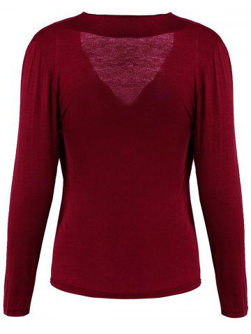 Trendy Sexy Plunging Neck Solid Color Long Sleeve Bodycon T-Shirt For Women - M WINE RED Mobile