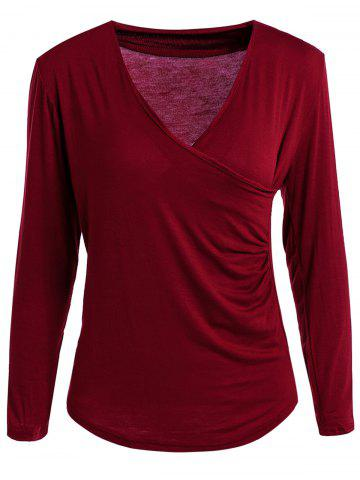 Trendy Sexy Plunging Neck Solid Color Long Sleeve Bodycon T-Shirt For Women - L WINE RED Mobile