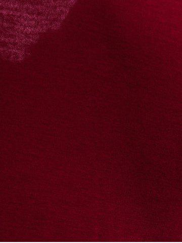 Discount Sexy Plunging Neck Solid Color Long Sleeve Bodycon T-Shirt For Women - XL WINE RED Mobile