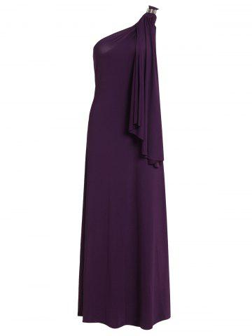 Noble One-Shoulder Solid Color Rhinestone Design Pleated Maxi Dress For Women - Purple - M