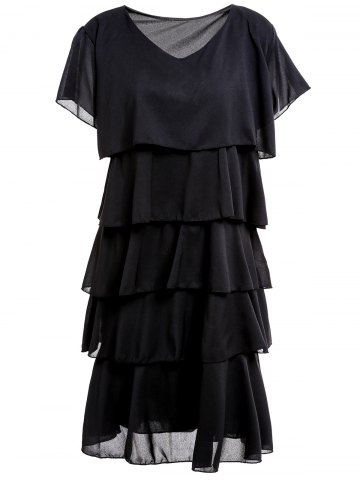 Cheap Stylish Scoop Collar Short Sleeve Layered Pure Color Women's Dress