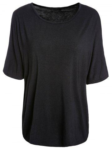 Hot Trendy Scoop Neck Batwing Sleeve Solid Color Loose-Fitting Women's T-Shirt