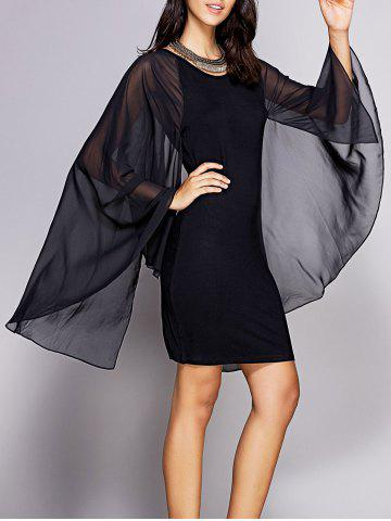 Trendy Chic Cape Sleeve Round Neck Women's Mini Bodycon Dress BLACK XL