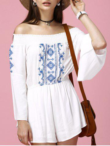 Fashion Off The Shoulder Embroidered Bell Sleeve Romper WHITE 2XL