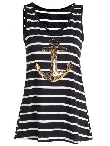 Outfits Sequined Anchor Striped Long Tank Top