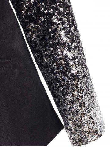 Outfit Plunging Neck Sequined Long Blazer - XL BLACK Mobile