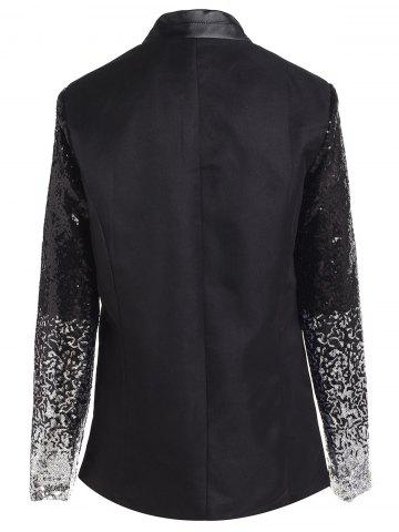 Fashion Plunging Neck Sequined Long Blazer - XL BLACK Mobile