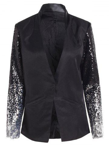 Hot Plunging Neck Sequined Long Blazer - XL BLACK Mobile