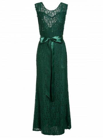 Backless Lace Long Formal Evening Dress - Green - M