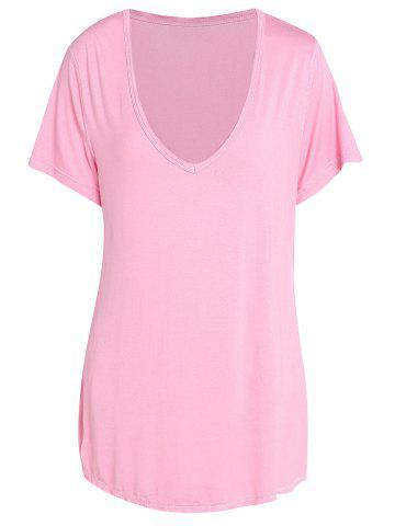 Trendy Pure Color V-Neck Short Sleeve T-Shirt For Women - Pink - Xl