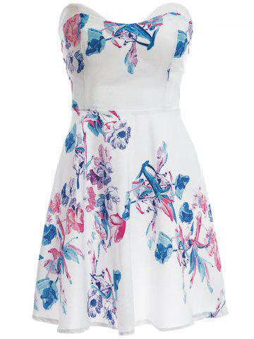 Online Sexy Strapless Sleeveless Floral Print Women's Dress