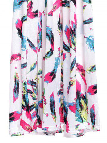 Affordable Bohemian Plunging Neckline Feather Print Sleeveless Dress For Women - L WHITE Mobile
