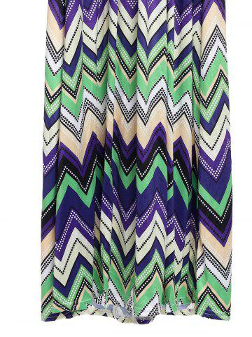 Shops Bohemian Plunging Neckline Zig Zag Sleeveless Dress For Women - M GREEN Mobile