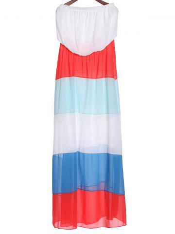 New Stylish Sleeveless Color Block Zig Zag Women's Tube Maxi Dress COLORMIX XL