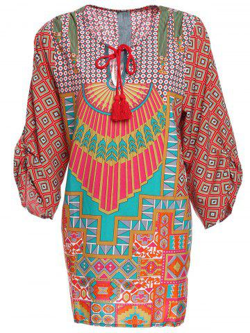 Trendy Trendy Style V-Neck Full Print 3/4 Sleeve Dress For Women
