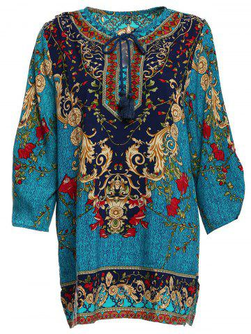 Cheap Vintage V-Neck 3/4 Sleeve Full Print Dress For Women