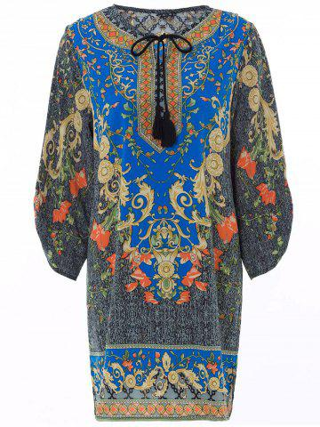 Shops Vintage V-Neck Floral Print 3/4 Sleeve Dress