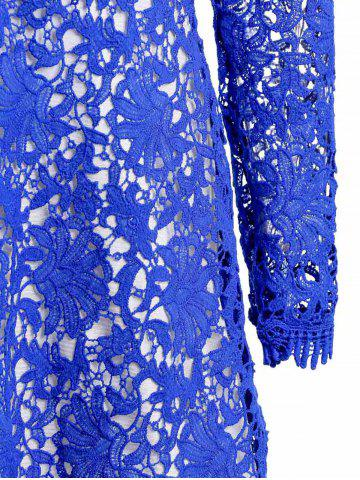 Latest Mini Plunge Long Sleeve Lace Backless Dress - XL BLUE Mobile