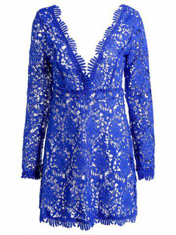 Shops Mini Plunge Long Sleeve Lace Backless Dress - XL BLUE Mobile