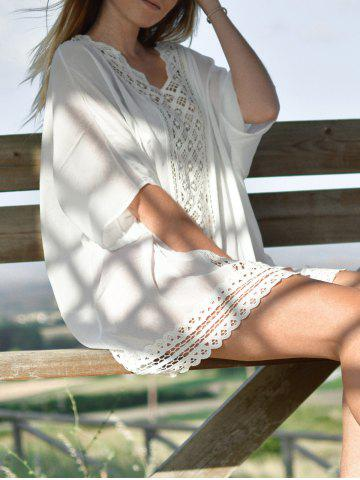 ONE SIZE(FIT SIZE XS TO M) WHITE V Neck 1 2 Sleeve Openwork Cover Up For Women