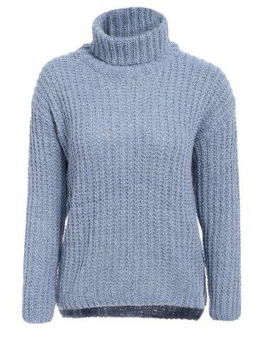 Chic Stylish Turtleneck Long Sleeve High-Low Sweater For Women BLUE GRAY ONE SIZE(FIT SIZE XS TO M)