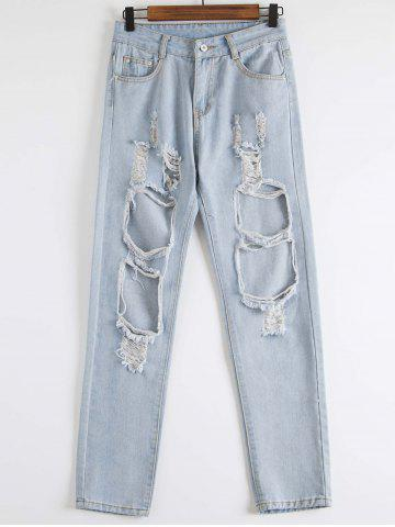 Affordable Distressed Jogger Jeans BLUE L