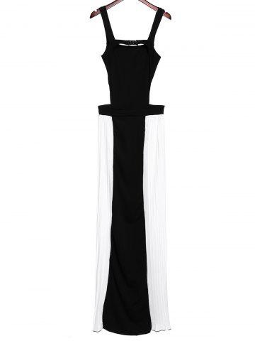 Best Sexy Square Neck Backless Color Block Chiffon Dress For Women - S BLACK Mobile