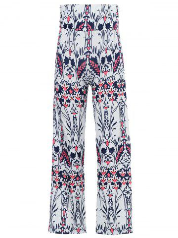 Best Mid-Waisted Tropical Print Exumas Palazzo Pants WHITE L