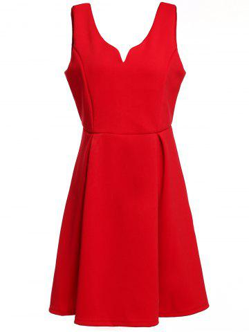 Sale Retro Sleeveless Semi Formal Dress RED S