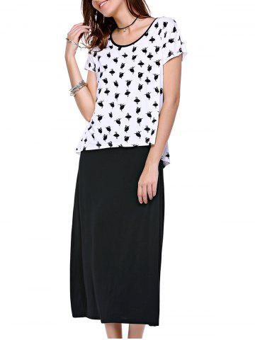 Hot Casual Ballet Print Scoop Neck Short Sleeve Faux Twinset Dress For Women