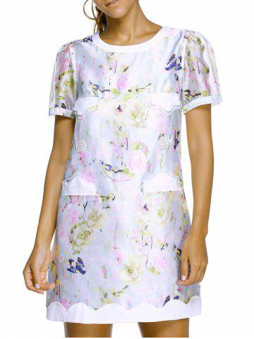 Charming Round Neck Short Sleeve Floral Print Spliced Women's Dress