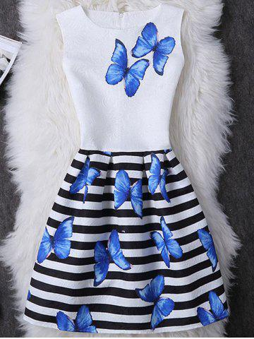 New Butterfly Print Striped Mini A Line Dress WHITE M