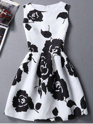 Outfit Charming Round Neck Sleeveless Rose Print Slimming Women's Dress
