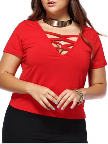 Cheap Alluring Plus Size Red Plunging Neck Criss Cross Women's T-Shirt