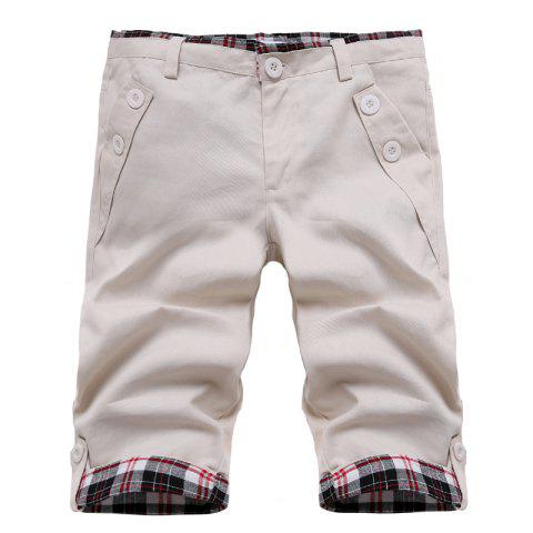 Outfit Fashion Straight Leg Plaid Spliced Color Block Zipper Fly Shorts For Men OFF WHITE L