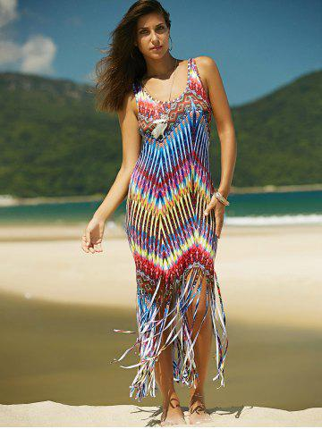 Store Colorful Boho Zigzag Fringe Racerback Flapper Dress - L COLORMIX Mobile