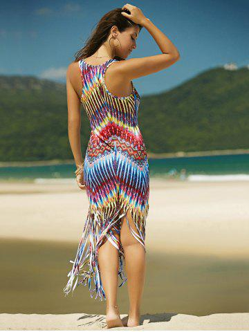 Hot Colorful Boho Zigzag Fringe Racerback Flapper Dress - L COLORMIX Mobile