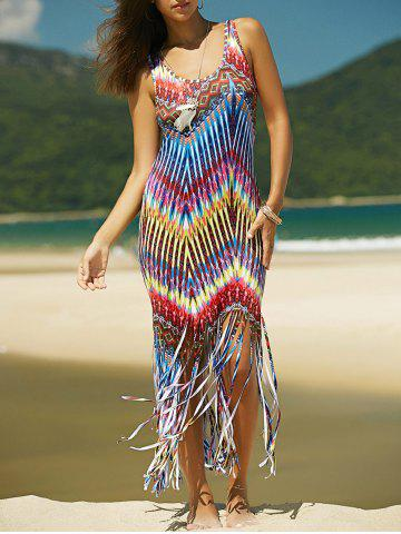 Shop Colorful Boho Zigzag Fringe Racerback Flapper Dress - S COLORMIX Mobile