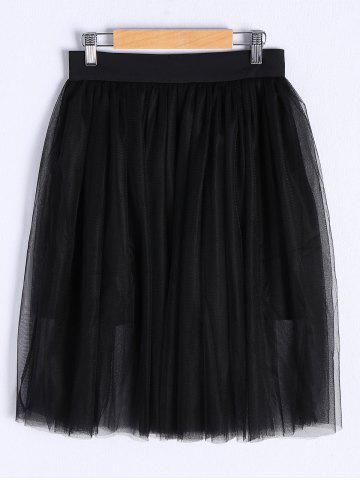 Chic Stylish Solid Color Bud Voile Midi Skirt For Women