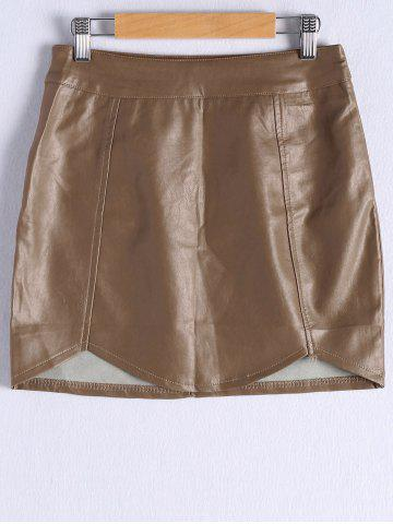 Shop Faux Leather Skirt BROWN M