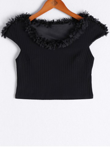Trendy Fashionable V-Neck Short Sleeves Ruffle Crop Top For Women