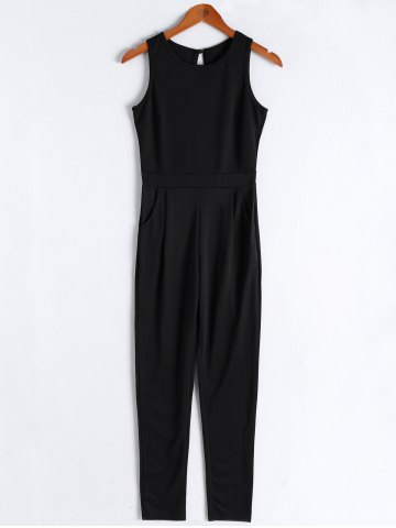 Fancy Simple Solid Color Scoop Neck Backless Jumpsuit For Women