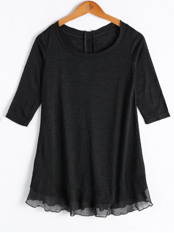 Online Casual Solid Color Scoop Neck Button Flounce 3/4 Sleeve Blouse For Women