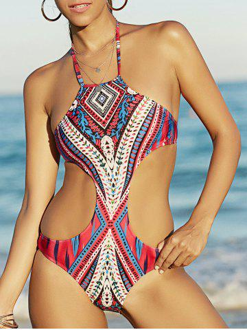 Outfits Bohemian Style Halter Printed Cut Out Swimwear For Women COLORMIX M